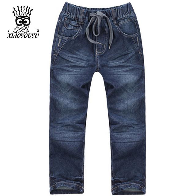 XIAOYOUYU Tamaño 120-160 cm de Los Pantalones de Mezclilla Ocasional Buena Marca Diseño Niños Moda Jeans Rectos de Cintura Elástica