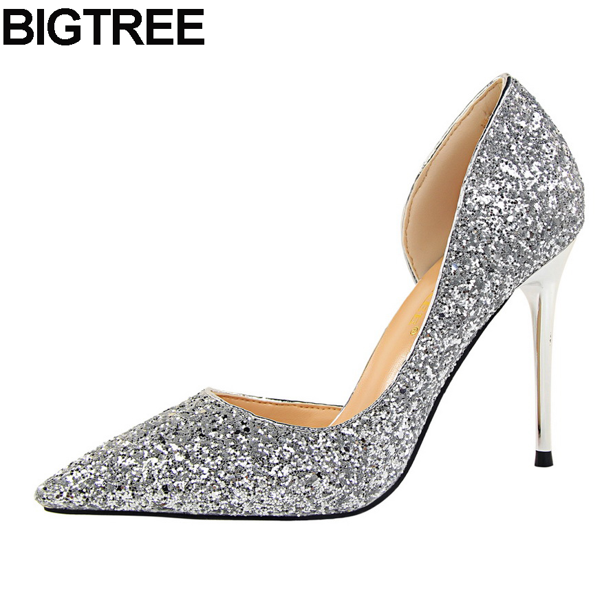 BIGTREE Women Pumps Glitter Sequined Shiny Wedding Bridesmaid Shoes Thin High Heel Stilettos Sexy Shallow Pumps Red Champange sequined high heel stilettos wedding bridal pumps shoes womens pointed toe 12cm high heel slip on sequins wedding shoes pumps