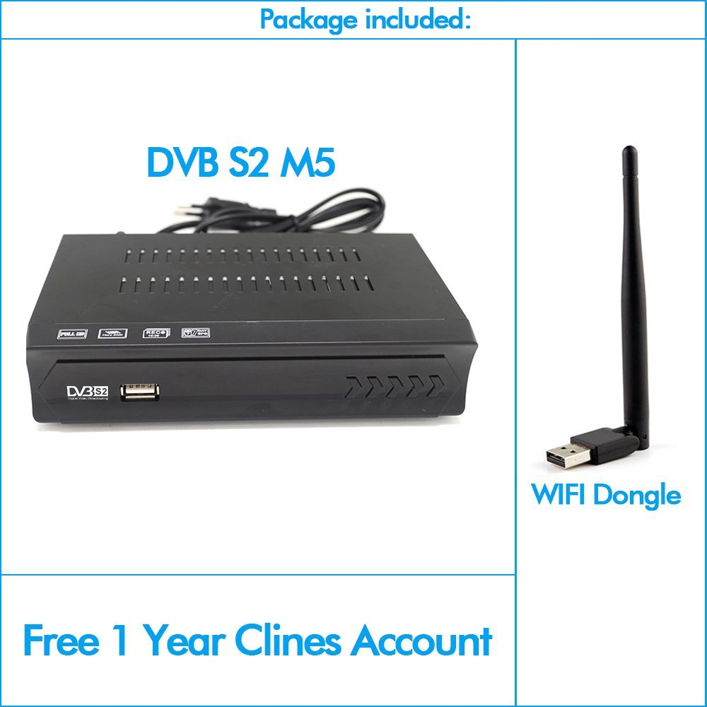 Vmade DVB-S2 Digital Satellite Receiver Support Youtube Bisskey + USB WIFI  Adapter With 1 Year Europe Cccam H 264 MPEG4 TV Box