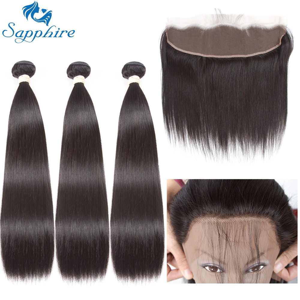 Sapphire Straight Remy Human Hair Bundles Med 360 Snörning Frontal - Barbershop - Foto 1