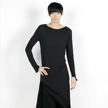 S-5XL!!!2018 The new men's long  sleeve round collar single side split fashion T-shirt