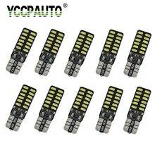 10 pces t10 w5w led canbus interior do carro luzes 24smd 3014 led para luzes da placa de licença auto lâmpada leitura interior erro livre 12v