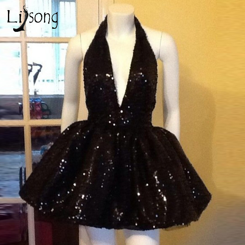 Sexy Black Sequined Short Cocktail Dresses Halter Off Shoulder Backless Formal  Party Dress Prom Gowns Robe De Cocktail 9116135dbd1b
