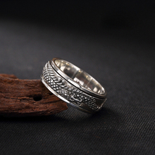 купить 100% Pure 925 Sterling Silver Rings Dragon Vintage Thai Silver Ring For Man Special Gift Jewelry FR053 дешево