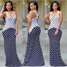 Europe Station 2019 New Sleeveless Striped Cross Vest Long Mopping Dress Female