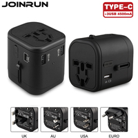 Joinrun Universal Travel Adapter Electric Plugs Sockets 3USB TypeC Converter US AU UK EU With 3