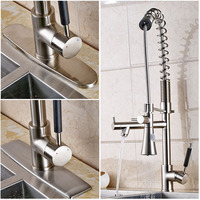 Deck Mounted Nickel Brushed Kitchen Sink Faucet 75cm Height Bathroom Kitchen Hot and Cold Water Mixer Taps
