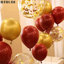 BTRUDI 10pcs Ruby red circular latex balloons12inch Sequins gold balloon wedding decorations anniversary birthday party