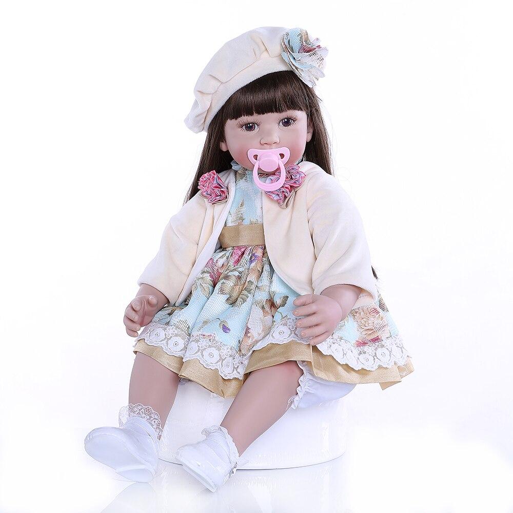 높은 품질 유연한 실리콘 비닐 reborn 유아 아기 소녀 인형 장난감 긴 갈색 머리 공주 아기 아이 생일 girt-에서인형부터 완구 & 취미 의  그룹 1