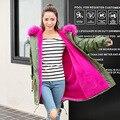 Mujeres Chaqueta Abrigo Largo Medio Mujer Parka con un Colorido de Piel de Invierno Abrigo Rompevientos 2016 Nuevos Bolsillos Cremalleras HX2
