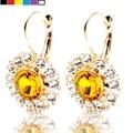 Peso Ligero brillante Burbuja Cristal Amarillo Clip en Los Pendientes Goldtone Redondo Claro Piedra Brote de Girasol Pendientes Palanca Hacia Atrás
