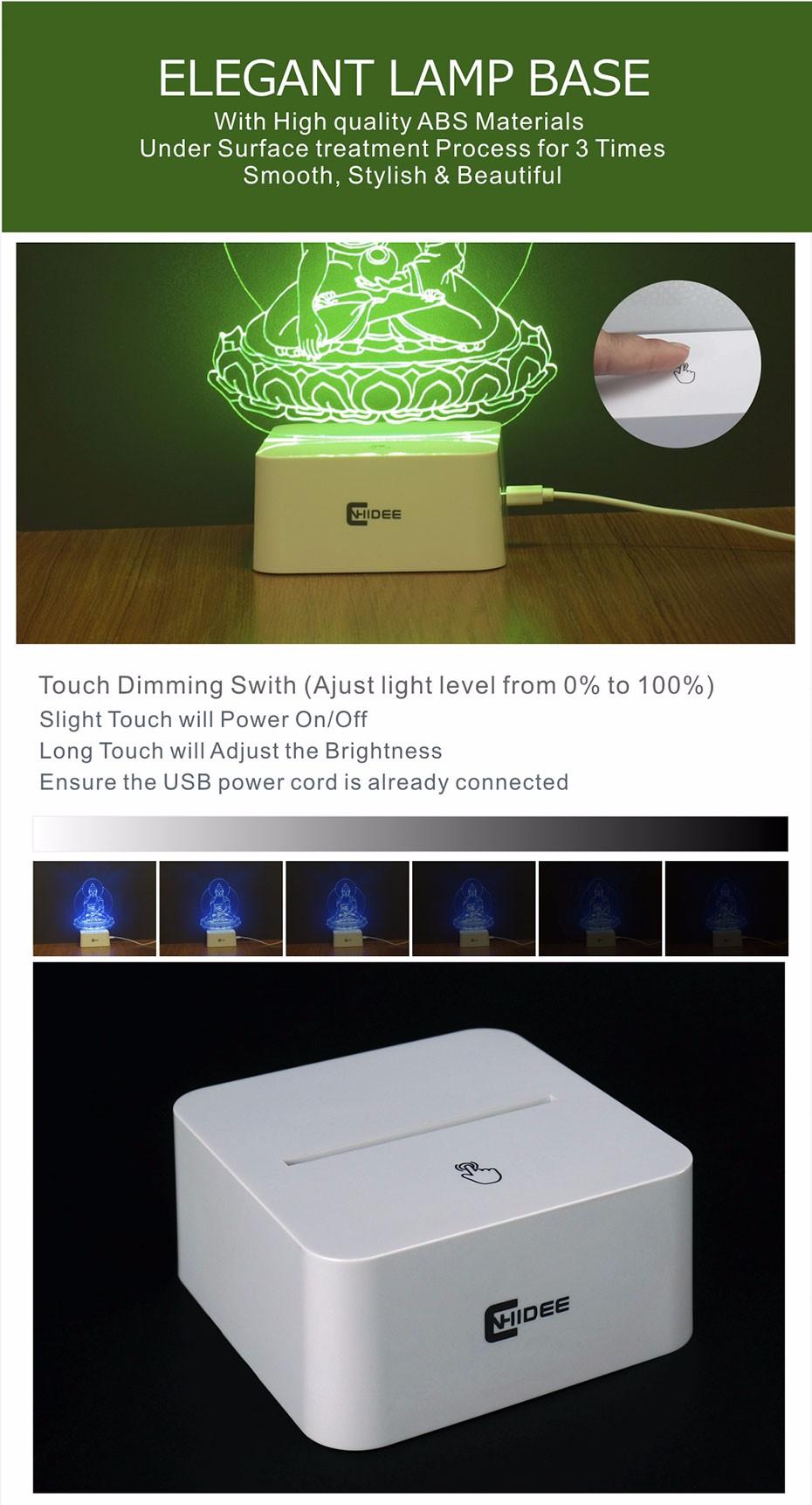 5 Colors Dimmable Night Light Buddha Statue Sakyamuni 3D Led Lamp Table Lampara Desk Night Light  (3)