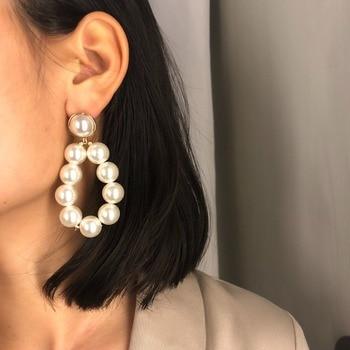 Big Pearl Drop Earring Elegant K-pop girl group daily wear