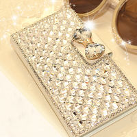 Brand Luxury Bling Bowknot Crystal Rhinestone Diamond Wallet Flip Back Case Cover For Samsung Galaxy S4
