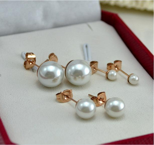 Lose Money Promotion Wholesale Hot Selling Titanium Steel Rose Gold Color Natural Pearl Earrings Woman Fashion Jewelry Not Fade