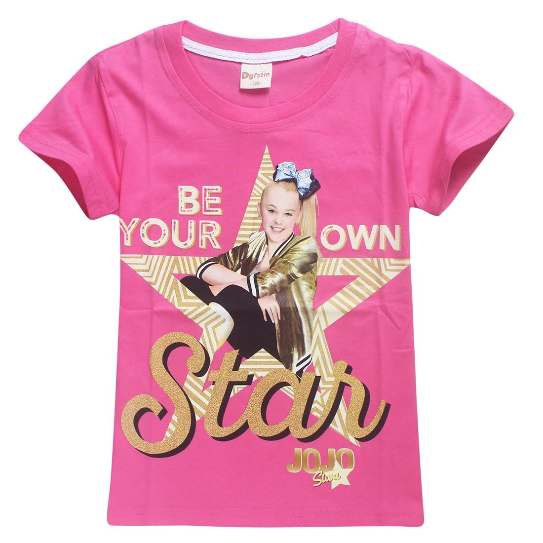 2018 New Summer Jojo Siwa Shirts Baby Girls Tshirts Short Sleeve T Shirts for Kids Bobo Choses T-shirt Child Sport Clothes 4-12Y 1