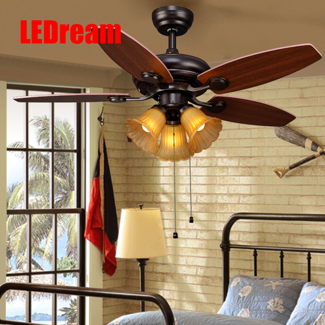 American country konoha ceiling lamp restaurant bedroom fan light hand pull europe type retro droplight