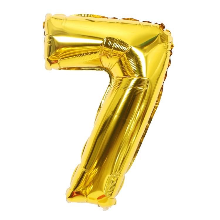 Золотой Серебряный 32 дюйма 0-9 большой гелиевый цифровой воздушный шар фольги Детский праздник день рождения вечеринка для детей мультфильм шляпа игрушки - Цвет: gold 7