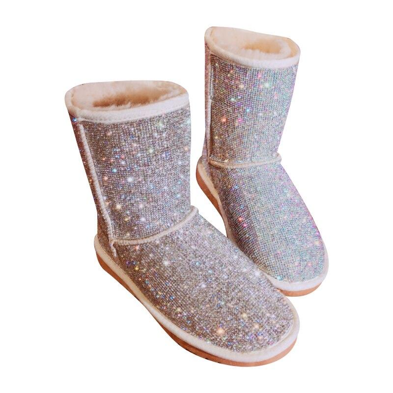 EU43 Grande Taille Chaud D'hiver Bottes Femmes À La Main Strass Neige Bottes De Fourrure Chaussures Femme 2018 Mode Bling Cristaux Mi- veau Bottes