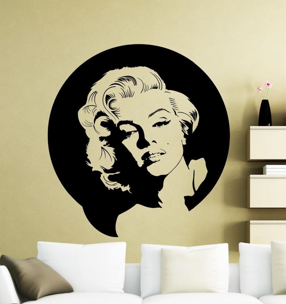 Vintage Wall Sticker Marilyn Monroe Wall Decal Vinyl Music Singer Sticker Decor Home Mural Decorative House adesivo NY 312 in Wall Stickers from Home Garden