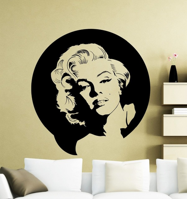 Vintage Wall Sticker Marilyn Monroe Wall Decal Vinyl Music Singer Sticker  Decor Home Mural Decorative House