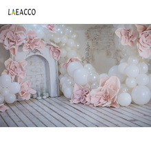 Laeacco Balloon Fireplace Flower Flower Board Baby Photography Tła Dostosowane fotograficzne Backdrops dla Photo Studio
