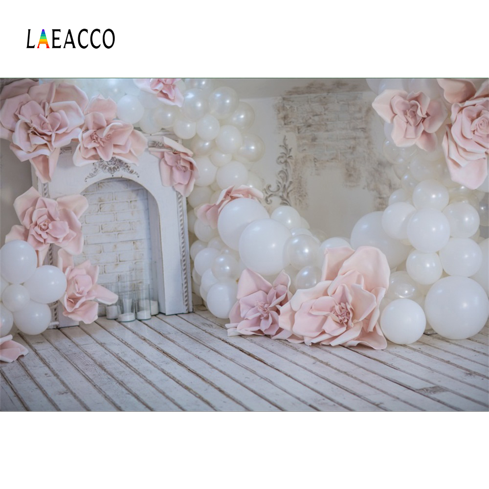 Laeacco Photo Backdrops Gray Fireplace Pink Balloons Flower Wooden Floor Child Party Portrait Photo Backgrounds For Photo Studio
