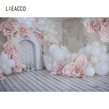 Laeacco Photo Backdrops Gray Fireplace Pink Balloons Flower Wooden Floor Child Party Portrait Backgrounds For Studio