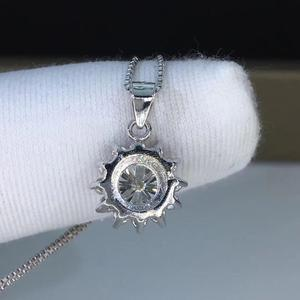 Image 2 - Poetry Of Jew Store Round Silver Moissanite Pendants 1ct D VVS Luxury Moissanite Weding Pendants for Women