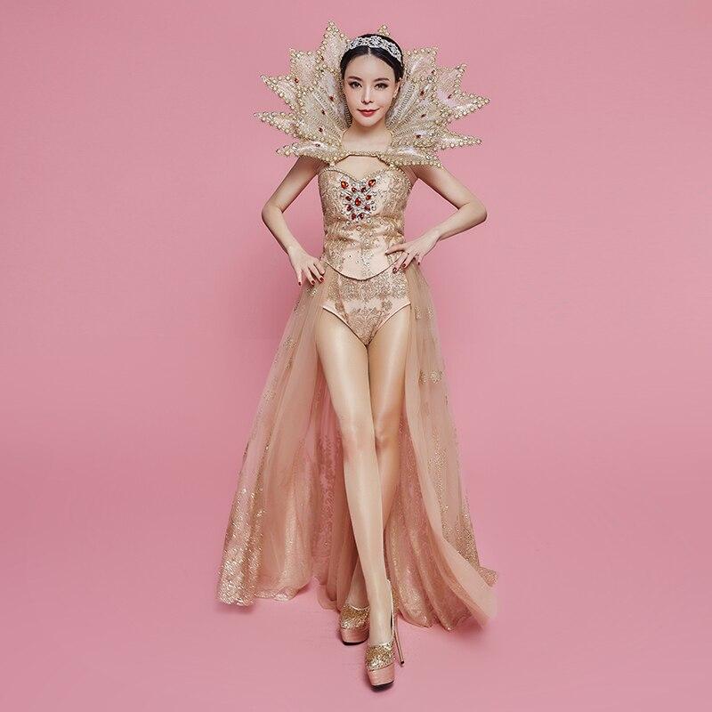 New Exy Queen Luxury Crystals Gold Dance Wear Bright Big Collar Design Female Singer Celebrate Mesh Sequins Costume Bodysuit
