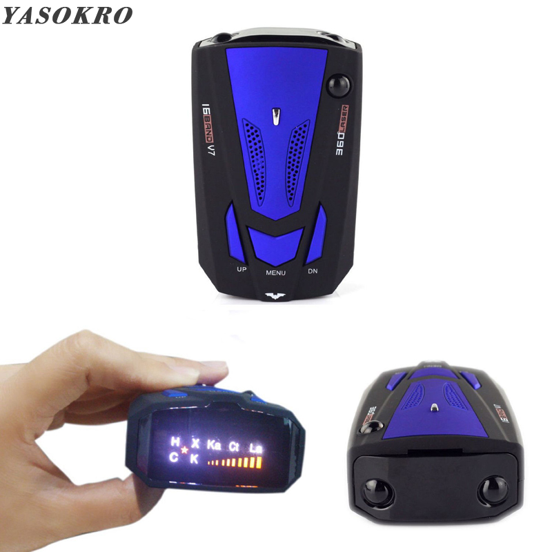 YASOKRO Car Radar Detector English Russian Auto 360 Degree Vehicle V7 Speed Voice Alert Alarm Warning 16 Band LED Display(China)