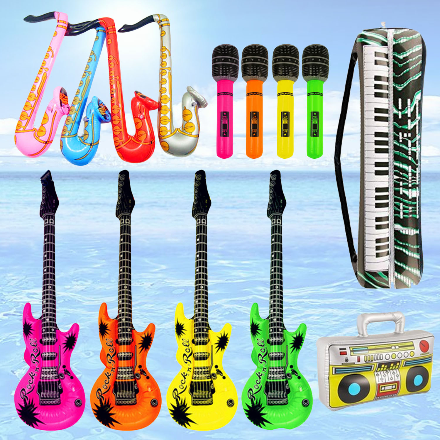 14cps Colorful Musical Inflatable Guitar Saxophone Microphone Piano Keyboard Radio Recorder Air Balloons Concert Party Decor Toy