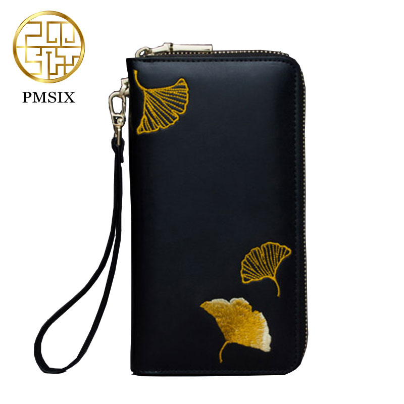 PMSIX New Large Capacity Women Wallet Casual Female Long Leather Purse Fashion Embroidered Zipper Clutch Wallet Female P420029 large capacity clutch purse female card bags new women long star wallet fashion banquet zipper pu leather wallets