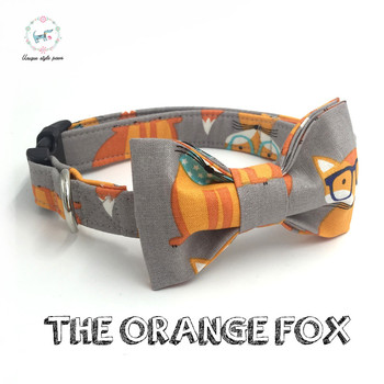 The orange fox anjing kerah set dengan dasi kupu-kupu pribadi kustom handmade pet pupply adjustable dog & cat fashion kalung