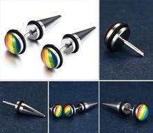 Lesbian LGBT earrings Lovers 1 pair pendants Gay Pride Rainbow ear stud Jewelry titanium steel