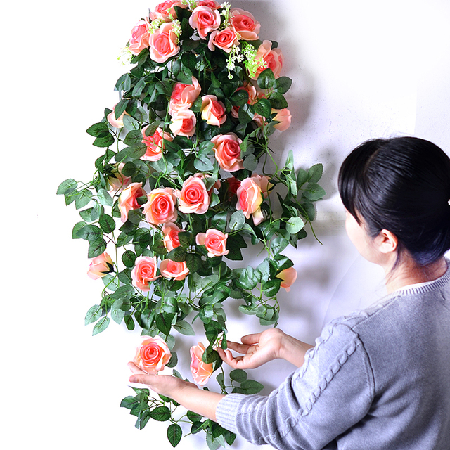 Wall Creative Romantic Roses Hanging Artificial Flowers Decorate The Living  Room Bedroom Home