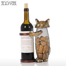 Tooarts 고양이 와인 랙 코르크 컨테이너 병 와인 홀더 주방 바 금속 와인 공예 크리스마스 선물 공예 동물 와인 스탠드