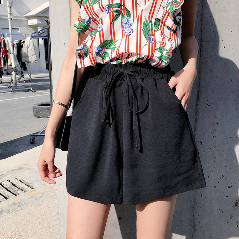 2018 Summer New Solid Black   Shorts   Womens High Waist Female   Shorts   Wide Leg   Short   Loose Culottes Casual Ladies Hotpants