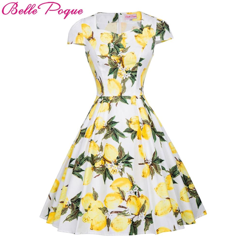 Belle Poque Woman Dress 2017 Floral Print Women Vintage Summer Pin Up Dresses Casual Short Sleeve Cotton Retro Rockabilly Dress