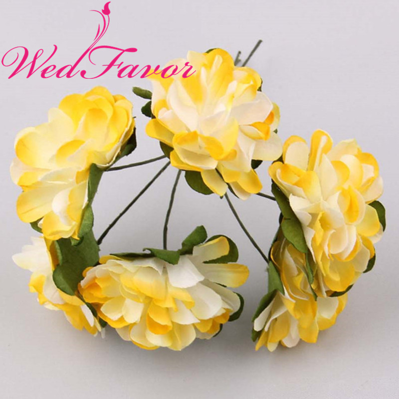 6447cd23e 144 piezas 3 cm crisantemo Artificial Mulberry clavel de papel ramos de flores  para Scrapbooking cuadro pelo guirnalda decoración de la boda en Flores ...