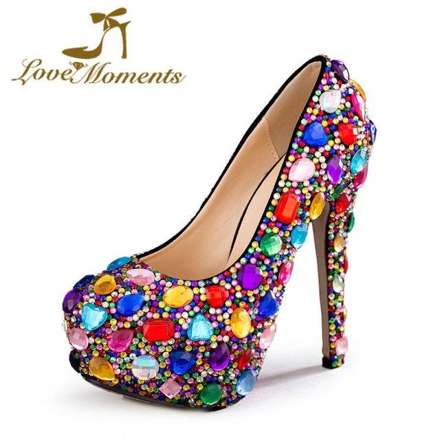 Liebe Momente Kristall Multicolor Frauen Schuhe Hochzeit Schuhe