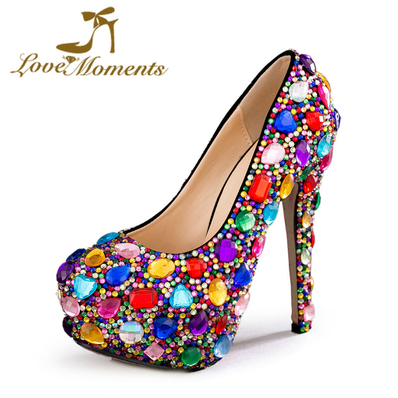 цены Love Moments Crystal Multicolor women shoes Wedding Shoes Bride Ladies Platform women high heels Evening party Dress Shoes