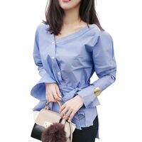 Women Shirts Off Shoulder Blouse V Neck Long Sleeve Wrap Top Elegant Bow Women Tops Striped