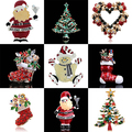 Women's Snowman Boot Wreath Santa Rhinestone Enamel Brooch Pin Christmas Gift