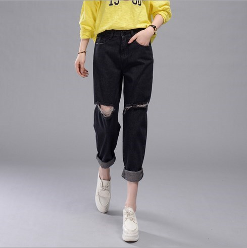Black Ripped Boyfriend Jeans Woman Loose Casual Denim Pants Mid Waist Jeans Femme Trousers Ankle-length Distressed Harem Pants loose ankle length jeans for women 2017 new vintage distressed high waist ripped denim harem pants woman trousers plus size