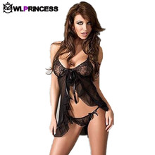 Owlprincess Women Sexy Erotic Dresses font b sex b font Lingeries Perspective net yarn bow Lace
