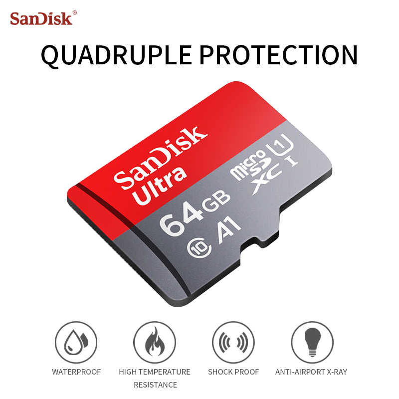 Carte Micro SD d'origine A1 SanDisk classe 10 16GB 32GB 64GB 128GB carte mémoire SDHC-SDXC flash MicroSD Max jusqu'à 98 M/s cartes TF