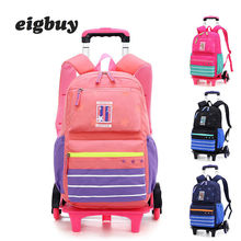 Grade 2-6 Kids Trolley Schoolbag Luggage Book Bags Boys Girls Backpack Latest Removable Children School Bags 2/6 Wheels Stairs kids boys girls trolley schoolbag luggage book bags backpack latest removable children school bags with 2 wheels stairs