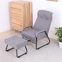 Lazer Tecido Dobrável Pequeno Sofá Preguiçoso Cadeira Com Pufe Mobília da Sala de estar Quarto Ajustável Confortável Cadeira Reclinável