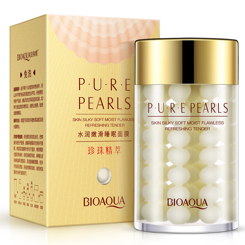 BIOAQUA Pure Pearl Sleeping Mask Cream Moisturizing SkinCare Hydrating Facial Night Mask Whitening Anti Wrinkle Face Mask Beauty